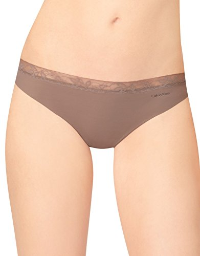 Calvin Klein Women's Invisibles with Lace Thong Panty, Liqueur, Large -