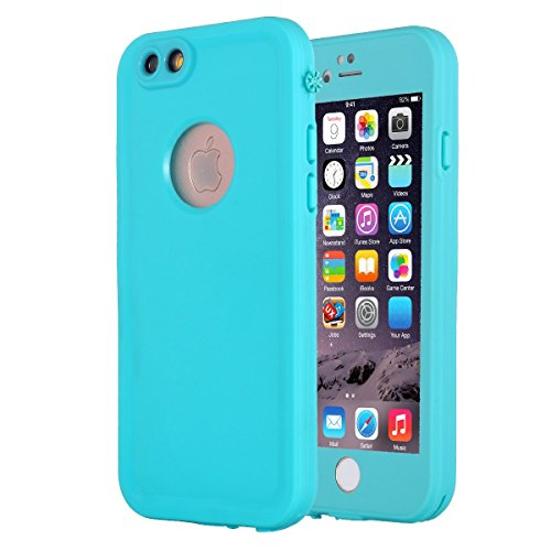 (iPhone 6S Waterproof Case, Pandawell Slim Thin Light Dirt/Dust Proof Snowproof Shockproof Case Full Body Underwater Protective Cover for Apple iPhone 6 / iPhone 6S 4.7 inch - Teal)