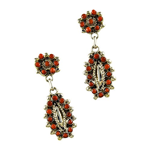 Sterling Silver Coral Needlepoint Earrings (Sterling Silver Zuni Needlepoint)