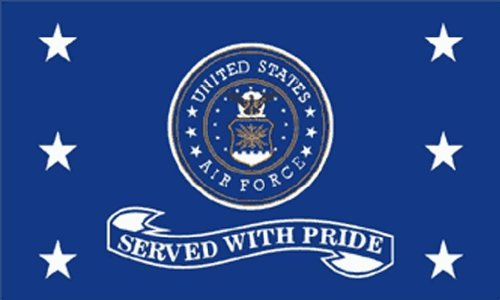 United States AirForce Served With Pride Seal and Stars Blue and White 3x5 Poly Flag