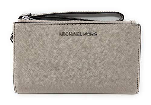 Michael Kors Jet Set Travel Double Zip Saffiano Leather Wristlet Wallet 2019 New Color (Cement), Medium