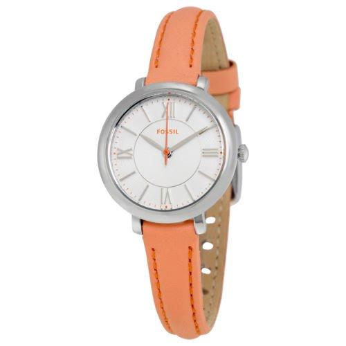 (Fossil Women's ES3938 Mini Jacqueline Three-Hand Date Papaya Leather Watch)