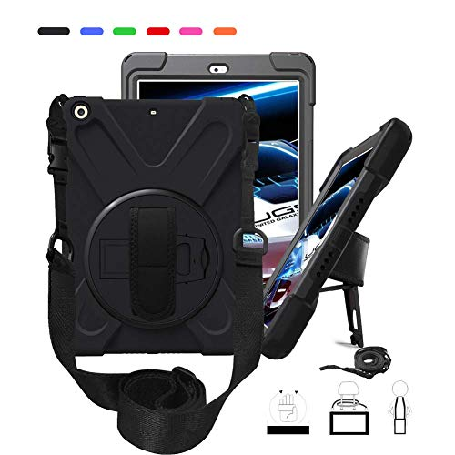 iPad 2018 2017 Case, Hybrid Heavy Duty Shockproof Water Resistant Rugged Protective Silicone Case with 360 Degree Stand Hand Strap Shoulder Strap for iPad 9.7 inch 6th/5th Generation Tablet, Black