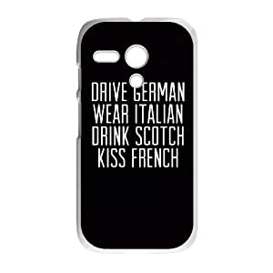 Motorola G Cell Phone Case White_quotes drive german wear italian drink scotch kiss french Crxxn