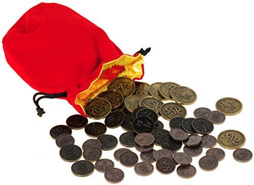 Sword & Sorcery Metal Coins Full Pack of 58 || Bonus RED Velvet w/ Yellow Satin Lining Drawstring Storage Pouch || Bundled Items