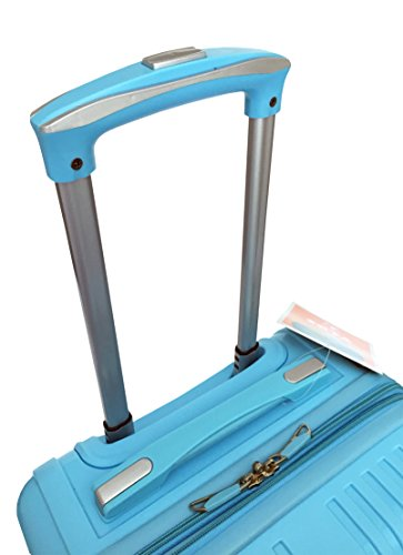 3 Pc Luggage Set Hardside Rolling 4wheel Spinner Upright Carryon Travel Sky Blue by Trendyflyer Collection (Image #3)