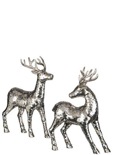 Sullivans Deer Tabletop Figurines, Silver Sequined Covered Reindeer, 17
