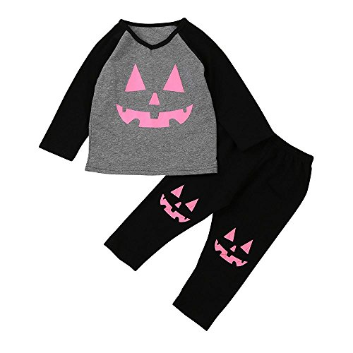 Toddler Infant Baby Girl Pumpkin Patch T-shirt Tops+Pants Halloween Outfits Set 2 Pcs by CSSD (5T, (Two Types Of Halloween Costumes For Girls)