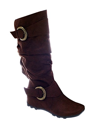 Tobacco Boots Buckle S Heel Merger Women's Hidden Calf Slouch Mid Decorative x6wOvP