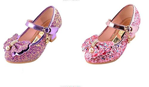 Bumud Girls Mary Jane Wedding Party Shoes Glitter Bridesmaids Low Heels Princess Dress Shoes