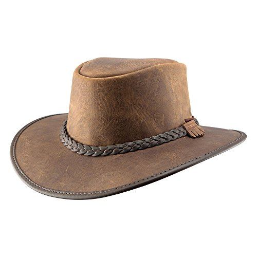 (American Hat Makers Bravo-Braided Band by American Outback Rugged Leather Hat, Chestnut - X-Large)