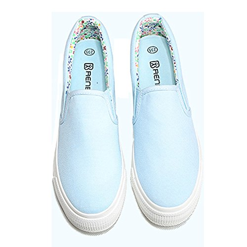 Summerwhisper Womens Casual Breathable Elastic Loafers Low Top Platform Pimsoll Canvas Shoes Blue 9ouxX3b1GW