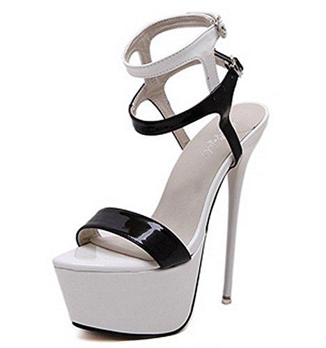alto de mujer de tacón 39 de mujeres 34 verano altos de tacón Sandalias black Tacones Zapatos Plataformas white mujer para aguja NVXIE de para Discotecas atractivos 85fqwFYqE
