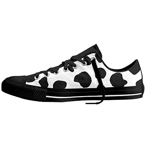 Shoes Plimsolls Man Low Womens Sneaker Print Flats Top Top Canvas Black Low Cow YTPXn1q