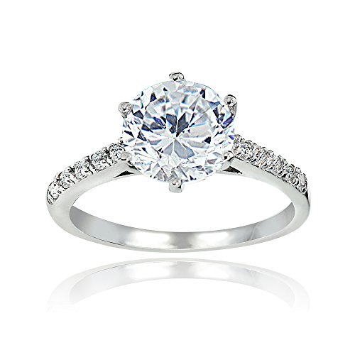 Hoops & Loops Sterling Silver 8mm Round Cubic Zirconia 6-Prong-Set Solitaire Bridal Ring, Size 7