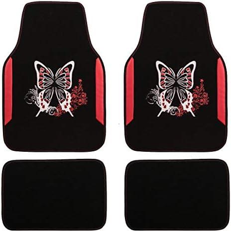 Black and Green CAR PASS Universal Fit Car Floor Mats Butterfly Flower for Women Girls Car Truck SUV Vans