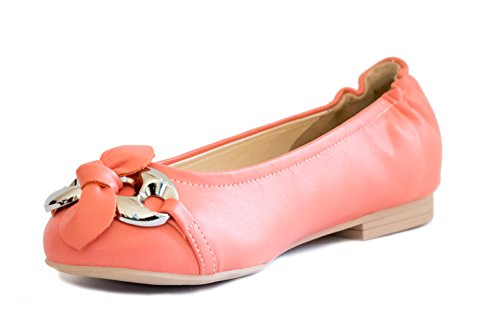 Bf Sole Lady Bow Punta Tonda Balletto Casual Scarpe Piatte Pesca