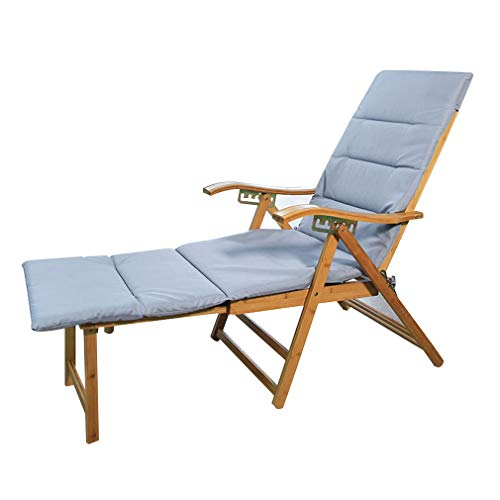 - SACKDERTY Adjustable Sun Lounger Folding Bamboo Reclining Chair Portable Zero Gravity Deck Chair with Pad and Retractable Pedal