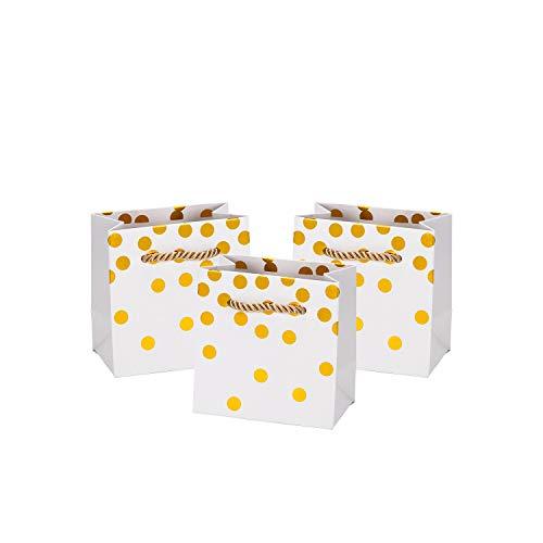 Loveinside Dots Foil Gift Bags -Gold Foil White Paper Gift Bag for Wedding,Birthday Present-12Pack -4