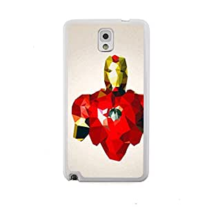 New - Iron Man Super Hero Cartoon Polygon Pattern Embossed Design White Bumper Plastic+TPU Case Cover for Samsung Galaxy Note III 3 N9000