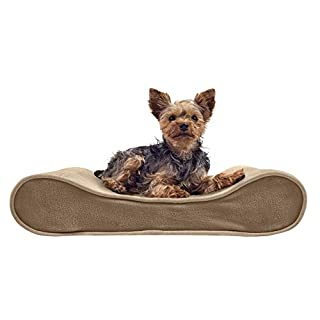 Furhaven Pet Dog Bed - Orthopedic Micro Velvet Ergonomic Luxe Lounger Cradle Mattress Contour Pet Bed with Removable Cover for Dogs and Cats, Clay, Small