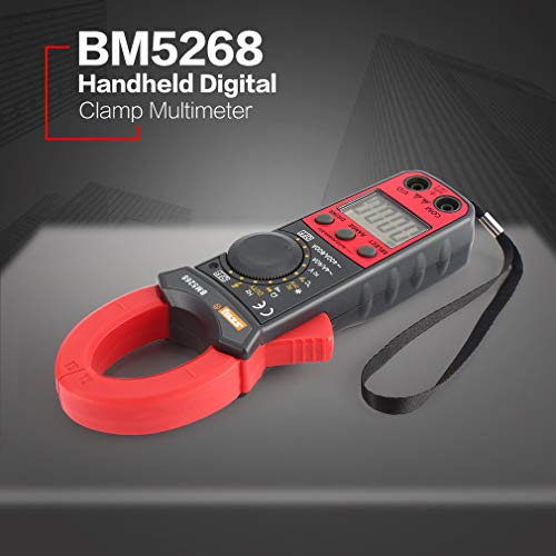 BM5268 Handheld Digital Clamp Meter Multimeter True RMS AC/DC Volt Amp Ohm Capacitance Frequency Temperature Diode Tester(Color:Gray&Red)