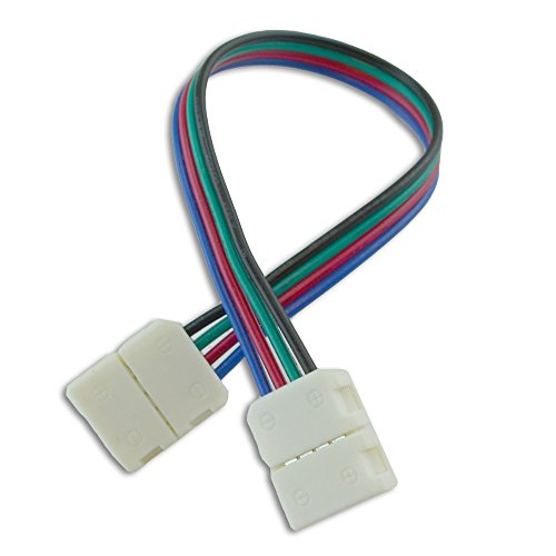 10mm (5050) Solderless LED Light Strip Connector Extension, Multi Color RGB - 6 Inch (4 Pack) Strip to Strip Any Angle Connector - for LED Strip Light & Tape Light in Kitchens, Cabinets, Shelving & Mo