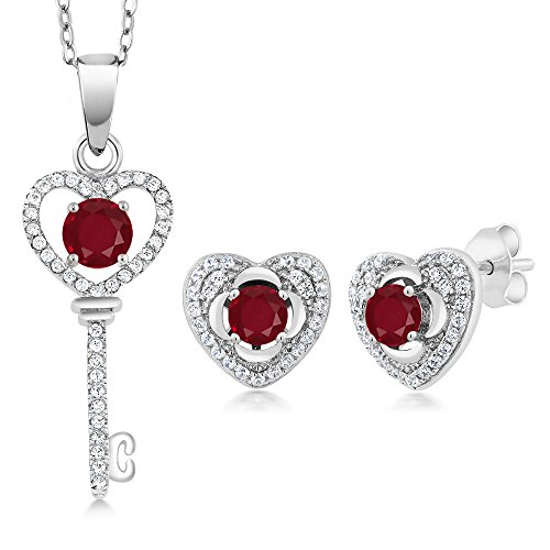 2.22 Ct Round Red Ruby 925 Sterling Silver Pendant Earrings Set by Gem Stone King