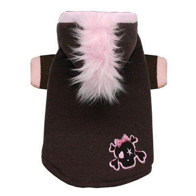 Skull Mohawk Dog Hoodie in Pink Size: Extra Small by Hip Doggie