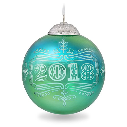 (Hallmark Keepsake Ornament 2018 Year Dated Glass Christmas Commemorative Teal Blue Gree)