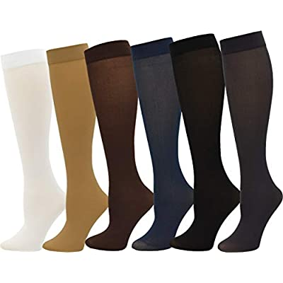 Queen Size Trouser Socks for Women, 6 Pairs Plus Stretchy Opaque Knee High Dress Sock (6 Pairs - Assorted #1) at Women's Clothing store