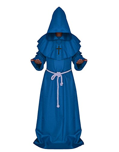 VERNASSA Medieval Monk Robe Priest Robe Halloween Cosplay Costume Cloak