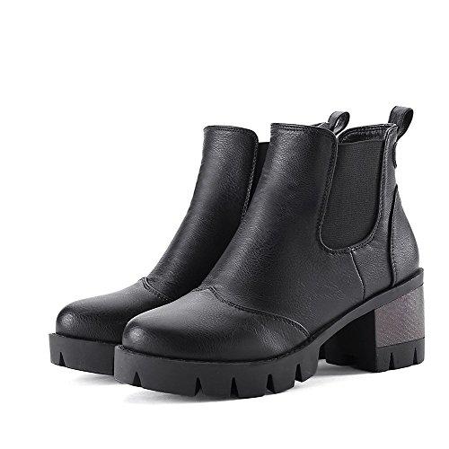 Kitten Round Heels Toe PU AgooLar Boots Women's Pull on Closed Solid Black tcqOTUEIU