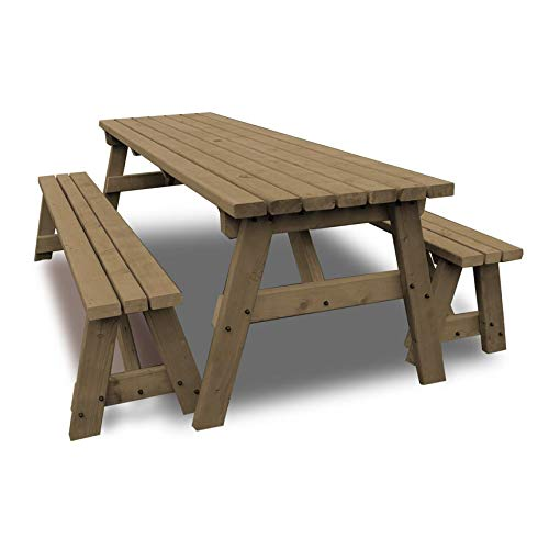 Rutland County Garden Furniture – Oakham Picnic Table Heavy Duty Pub Style With Bench Set – Ideal For Gardens And Patios…
