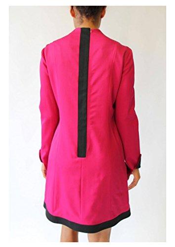 100 Italian Neck High IERULLO Cuffs Wool Dress Couture Women's and Bruno Pink fq5TwUU