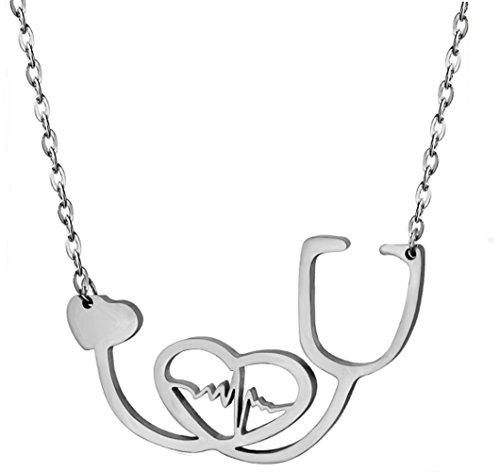 SXNK7 Stainless Steel Nurse Doctor Medical Stethoscope Chain Bijoux Collier EKG Heartbeat Love You (Bijoux Heart)