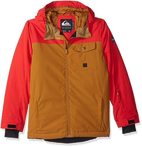 Quiksilver Boys' Big Mission Solid Youth 10K Snow Jacket, Golden Brown, (Best Quiksilver Snow Jackets)