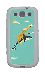 Case for Samsung Galaxy S3 Funny Giraffe And Shark Illustration TPU Case Cover for Samsung Galaxy S3 SIII White