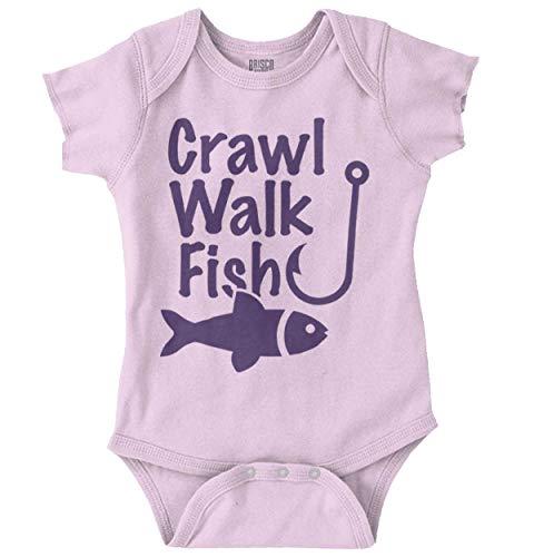 Brisco Brands Crawl Walk Fish Funny Fishing Routine Humor Romper Bodysuit Pink