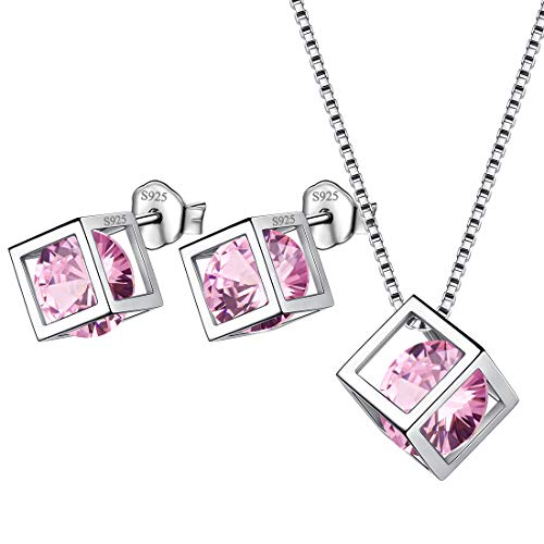 Aurora Tears Birthstone October Jewelry Sets Women 925 Sterling Silver Birth Crystal Stone Necklace Earrings Sets Girls Birth Stone Gift DS0028O