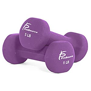 ProSource Set of 2 Neoprene Dumbbell Coated for Non Slip Grip, 1 lb 12 lb