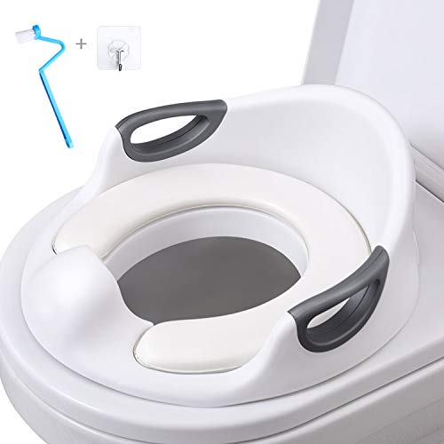 Potty Training Seat for Toddlers Toilet Seat Kids Potty Trainer Seats with Soft Cushion Handles for Round Oval Toilets Double Anti-Slip Design and Splash Guard for Boys and Girls (White)
