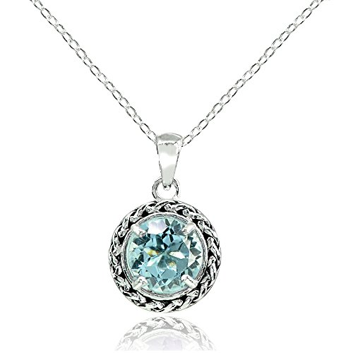 Ice Gems Sterling Silver Blue Topaz Round Oxidized Rope Pendant Necklace