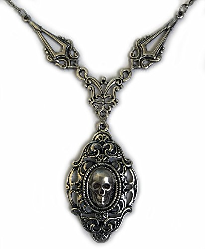 Silver Filigree Skull Cameo Necklace