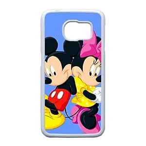 el caso de Disney Mickey Mouse Minnie Mouse L9R23Z2HB funda Samsung Galaxy S6 funda blanca R6U3LC