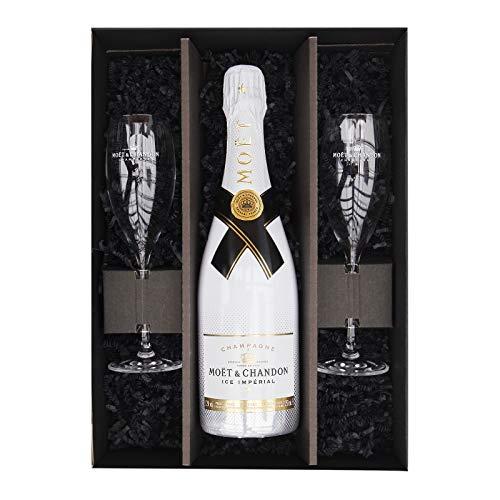 Reichelts I Feinste Getränke & Geschenke I Moët & Chandon Ice Impérial 0,75l + 2 x Moet Champagnerglas mit tollem…