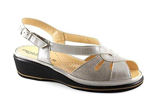 GRUNLAND ELOI SA1257 Correa de Color Beige Mujer Sandalias de Cuña Comodidad Beige