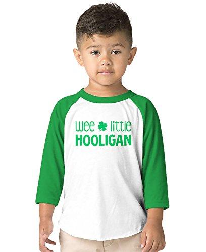 SpiritForged Apparel Wee Little Hooligan Toddler 3/4 Raglan Shirt, Kelly 4T