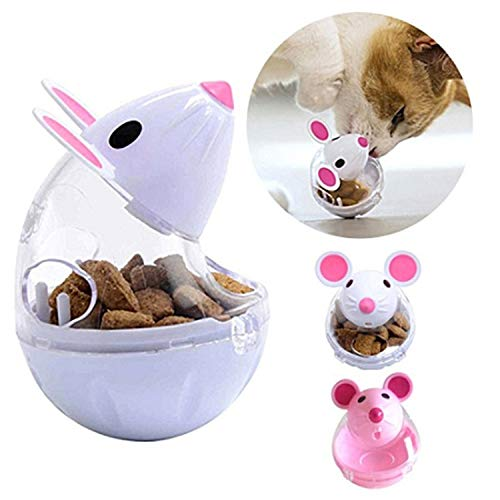 Legendog Cat Slow Feeder Cat Food Ball Mice Tumbler Shaped Pet Treat Ball Cat Food Toy Ball Pet Food Ball (White)