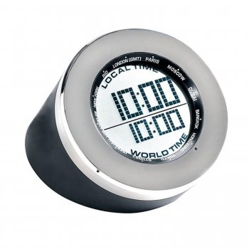 Seth Thomas Silver Tone Metal and Black Rubber Case Grey with Digital LCD Dial Round Multifunction Desk Clock